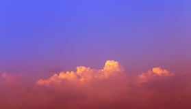 Sky. Orange low clouds in blue and red sky Royalty Free Stock Images