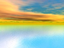 Sky orange and yellow and sea Royalty Free Stock Images