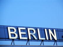 Sky over Berlin. Berlin writing at the airport Sch�nefeld Stock Photo