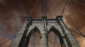 Sky over Brooklyn Bridge in New York City Royalty Free Stock Photos