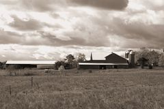 Sky over farm in Pennsylvania. B&W. Sepia Royalty Free Stock Photography