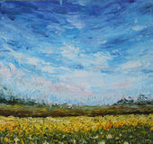 The sky over the field, oil painting. Original oil painting the sky over the field  on canvas. Impasto artwork. Impressionism art Royalty Free Stock Photo