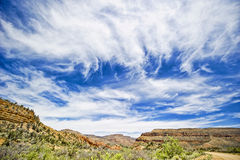 Sky over Grand Canyon. Blue sky and clouds at the bottom of Grand Canyon Stock Image