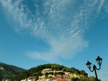 The sky over Parga, Greece. Beautiful clouds in the sky above Parga Royalty Free Stock Photo