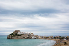 The Sky over Peñíscola. Stormy weather over Peñiscola's Castle and its beach Royalty Free Stock Photos