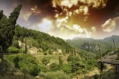 Sky over Tuscan Countryside in Casoli Royalty Free Stock Photo