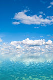 Sky over the water. Blue sky with white clouds over the water Royalty Free Stock Photo