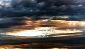 Sky. Overcast sky with orange light Royalty Free Stock Photo
