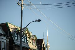 Sky, Overhead Power Line, Electricity, Residential Area stock photo