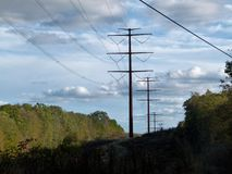 Sky, Overhead Power Line, Transmission Tower, Electricity Stock Image