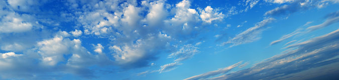 Sky panorama. Wide sky panorama with  clouds Royalty Free Stock Photo