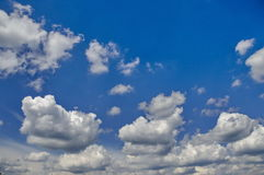 Sky panorama banner with blue sky and clouds in Plana mountain Stock Image