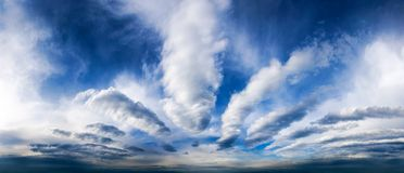 Sky panorama with fantastic clouds Royalty Free Stock Photo