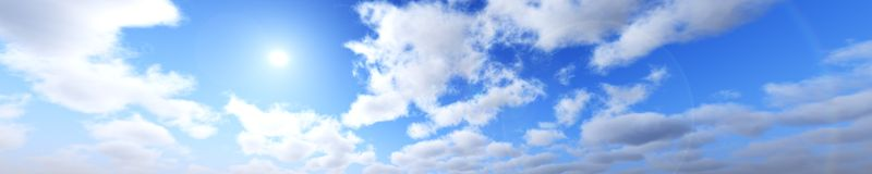 Sky panorama view of clouds and sun, banner Royalty Free Stock Photos