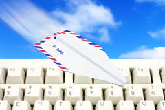 Sky and paper airplane email concept. Envelope paper airplane, email concept Stock Image