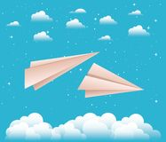 Sky with paper airplanes. Vector illustration design royalty free illustration