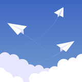 Sky paperplanes background 02 Royalty Free Stock Image