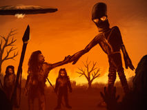 Sky People. Digital painting of an alien astronaut meeting with prehistoric humans Stock Photo