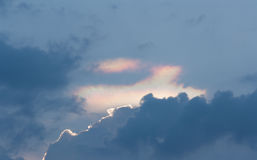 The sky. Phenomenon rainbow clouds in the sky. Iridescence Royalty Free Stock Photography