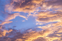Sky with pink clouds during sunset Stock Images