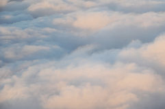The sky from the plane. Flight in the plane at big height over clouds Stock Images