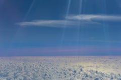 Sky through plane window. Stock Image