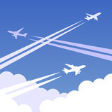 Sky planes background 01. Sky background with clouds and airplanes with traces. Vector illustration, easy editable Royalty Free Stock Image