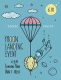 Sky Planets Stars Cosmonaut Moon Flight Line Art Royalty Free Stock Image