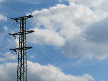 Sky. Power lines to the substrate sky and puffs in nature stock photo
