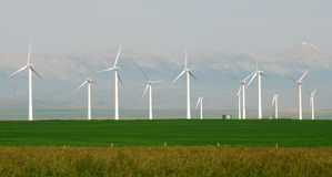 Sky, prairie and windmills royalty free stock image