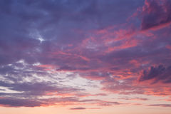 Sky with purple clouds at sunset Royalty Free Stock Photography