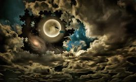 Sky puzzle. Full moon, clouds like a puzzle  Some elements provided courtesy of NASA Royalty Free Stock Photography