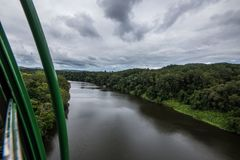 Sky rail view coming down from Kuranda. Village on a cloudy day royalty free stock photos