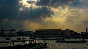 Sky after rain at Chao Phraya River. In Bangkok Royalty Free Stock Photo