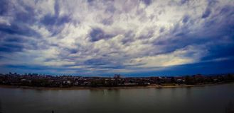 The sky before the rain on the Kuban river in the author's treatment! stock photography
