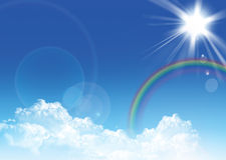Sky and rainbow. Cloudy blue sky with colourful rainbow Stock Photography