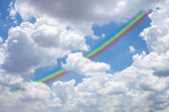 Sky with rainbow, Royalty Free Stock Photography