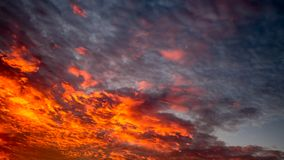Sky with red clouds stock photo