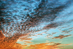 Sky. Red and orange Altocumulus Cloud with sunset light Stock Image