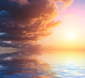 Sky reflected in water surface. Stock Photography