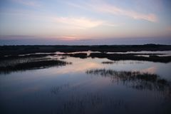 Sky Reflecting In Marsh. Royalty Free Stock Photography