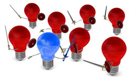 Sky-reflecting light bulb fighting against many red ones with swords and shields Royalty Free Stock Image