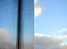 Sky reflection. On stainless steel postument royalty free stock photos
