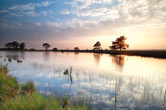 Sky reflection in lake at sunset. Drenthe, Netherlands stock photography