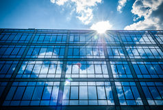 Sky reflection in office building Royalty Free Stock Photography