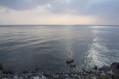 Sky reflection sea beach blue sunset light sundown concept Royalty Free Stock Image