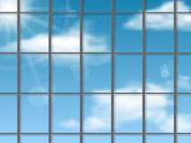 Sky reflection in the skyscraper wall. Vector architectural background Royalty Free Stock Photos
