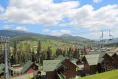 Sky-resort in the spring. Cableway. View from above. Bukovel. Ukraine royalty free stock photos