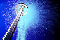 Sky ride and fireworks at night Royalty Free Stock Images