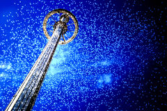 Sky ride and fireworks at night TX Royalty Free Stock Photos